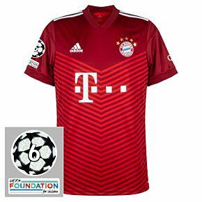 21-22 FC Bayern Munich Home Shirt + UCL 6 Times Winner Patches