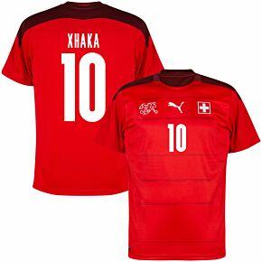 20-21 Switzerland Home Shirt + Xhaka 10 (Fan Style Printing)