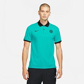 21-22 Inter Milan Slim Polo Shirt - Turbo Green
