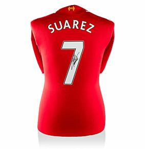 Luis Suarez Signed Liverpool 14-15 Home Shirt (Back Signed)