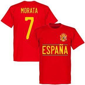 Spain Morata 7 2020 Team T-Shirt - Red