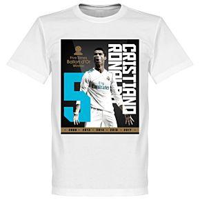 Ronaldo 5x Ballon d'Or Winner Ronaldo 7 Tee - White