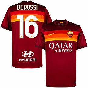 20-21 AS Roma Home Shirt + De Rossi 16 (Official Printing)