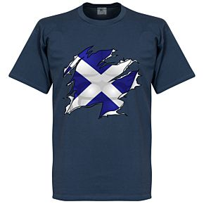 Scotland Ripped Flag Tee - Navy