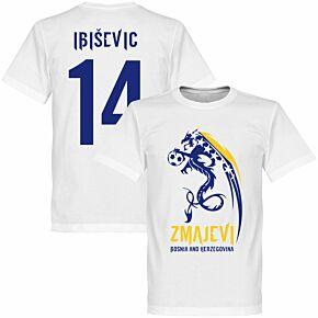 Bosnia Herzegovina Zmajevi Tee + Ibisevic 14 - White