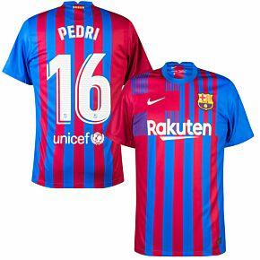 21-22 Barcelona Home Shirt + Pedri 16 (Official Printing)