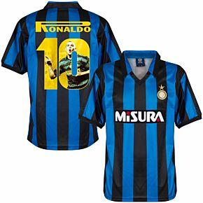 1990 Inter Milan Home Retro Shirt + Ronaldo 10 (Gallery Style Printing)