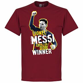 Messi Five Time Ballon d'Or Winner Tee - Red