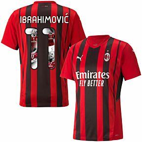 21-22 AC Milan Home Shirt + Ibrahimović 11 (Gallery Printing)
