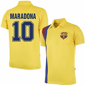 81-82 Barcelona Away Retro Shirt + Maradona 10 (Retro Flock Printing)