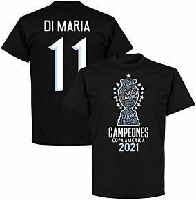 Argentina 2020 Copa America Champions Di Maria T-shirt - Black