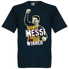 Messi Five Time Ballon d'Or Winner Tee - Navy