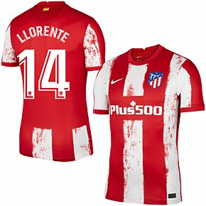 21-22 Atletico Madrid Home Shirt + Llorente 14 (Official Printing)