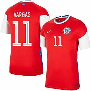 20-21 Chile Home Shirt + Vargas 11 (Fan Style Printing)