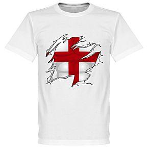 England Ripped Flag KIDS Tee - White