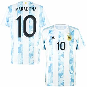 2021 Argentina Home Shirt + Maradona 10 (Official Printing)