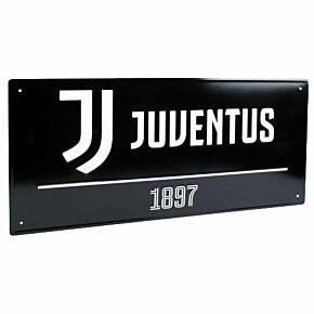 Juventus Street Sign - Black (40cm x 18cm)