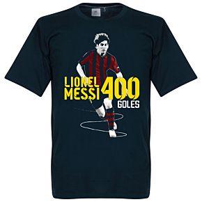 Messi 400 Record Goalscorer KIDS Tee - Navy