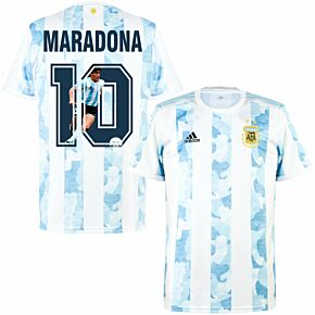 2021 Argentina Home Shirt + Maradona 10 (Gallery Style Printing)