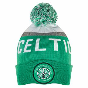 Celtic Text Cuff Beanie Hat - Green/White