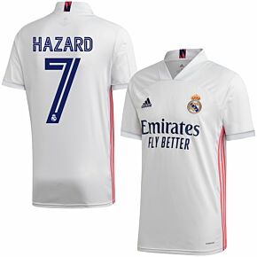 20-21 Real Madrid Home Shirt + Hazard 7 (Official Club Printing)