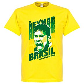 Neymar Portrait KIDS Brazil Tee - Yellow