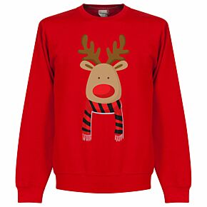Reindeer Scarf Supporters Sweatshirt - Red