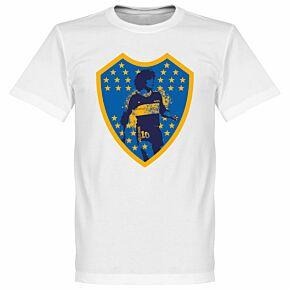 Maradona Boca Crest Tee - White