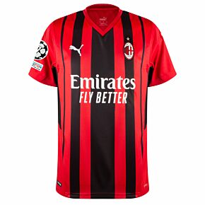 21-22 AC Milan Home Shirt + UCL Starball 7 Times Winner + UEFA Foundation Patch Set