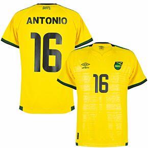 21-22 Jamaica Home Shirt + Antonio 16 (Fan Style Printing)