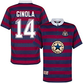 1996 Newcastle Away Shirt + Ginola 14 (Retro Flock Printing)