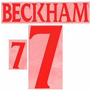Beckham 7 - 99-01 England Home Retro Flock Printing