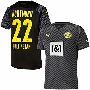 21-22 Borussia Dortmund Away Shirt + Bellingham 22 (Official Printing)