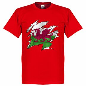 Wales Ripped Flag KIDS Tee - Red