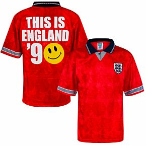 1990 England World Cup Finals Away Retro Shirt + This is England '90 (Special Flock Printing)