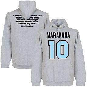 Maradona No.10 Quote Hoodie - Grey