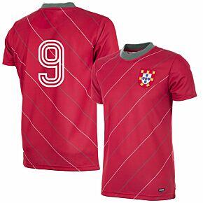 1984 Portugal Home Retro Shirt + No.9 (Retro Flock Printing)