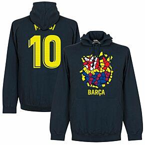 Barcelona Messi 10 Gaudi Crest Hoodie - Navy