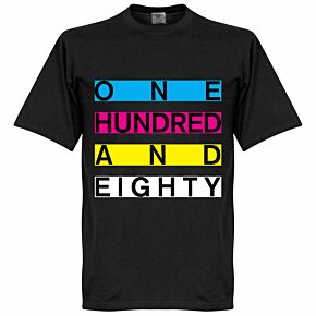 One Hundred and Eighty Banner Darts Tee - Black