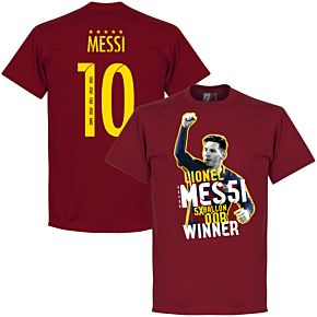 Messi 10 Five Time Ballon d'Or Winner Tee - Red