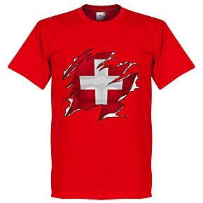 Switzerland Ripped Flag KIDS Tee - Red