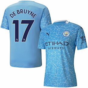 20-21 Man City Home Shirt + De Bruyne 17 (Premier League)