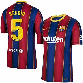 20-21 Barcelona Home Shirt + Sergio 5 (Official Pro Size)