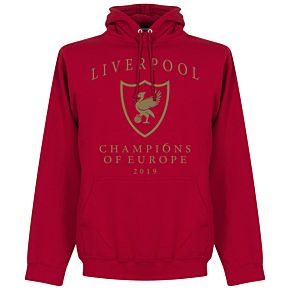 Liverpool Crest Champions of Europe Hoodie - Red