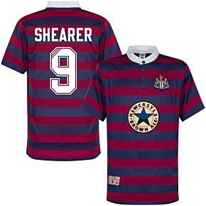 1996 Newcastle Away Shirt + Shearer 9 (Retro Flock Printing)