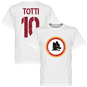 Roma Vintage Crest with Totti 10 Tee - White