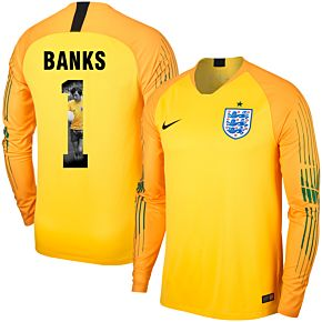 England Home L/S GK Banks 1 Jersey 2018 2019 (Gallery Style Printing)