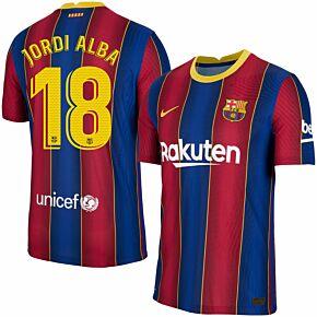 20-21 Barcelona Vapor Match Home Shirt + Jordi Alba 18 (Official Pro Size)