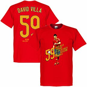 David Villa 59 Goals Tee - Red
