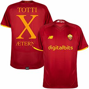 21-22 AS Roma Home Shirt + Totti Aeterno X (Fan Style)